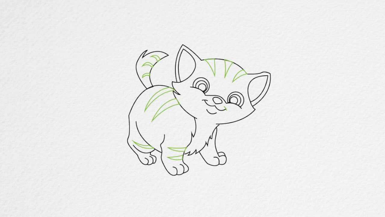 Drawn kitten A to draw step step