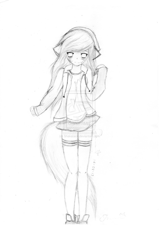 Drawn kitten anime People anime Female People Cat