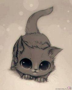 Drawn kitten anime Por dibujar and Pin T