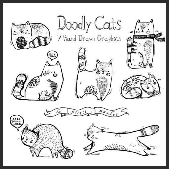 Cat clipart drawn Hand Drawn Doodly Digital Illustration
