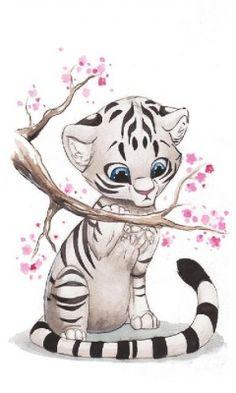 Drawn animal white tiger #4
