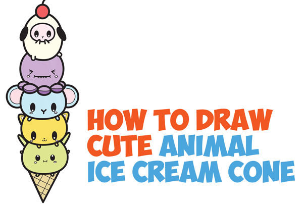 Drawn ice cream beginner step by step Tutorial Baby Kids Cone How