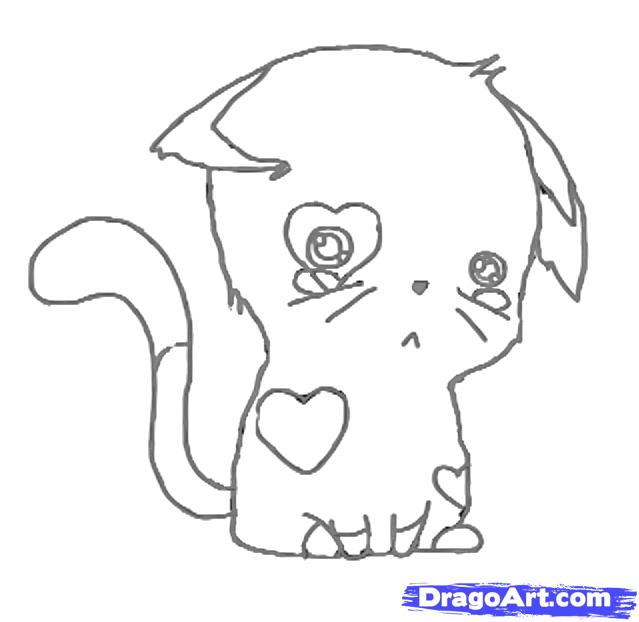 Drawn kitten chibi Kitten Step by Draw to