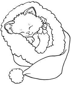 Drawn santa kitten Coloring Google Christmas page coloring
