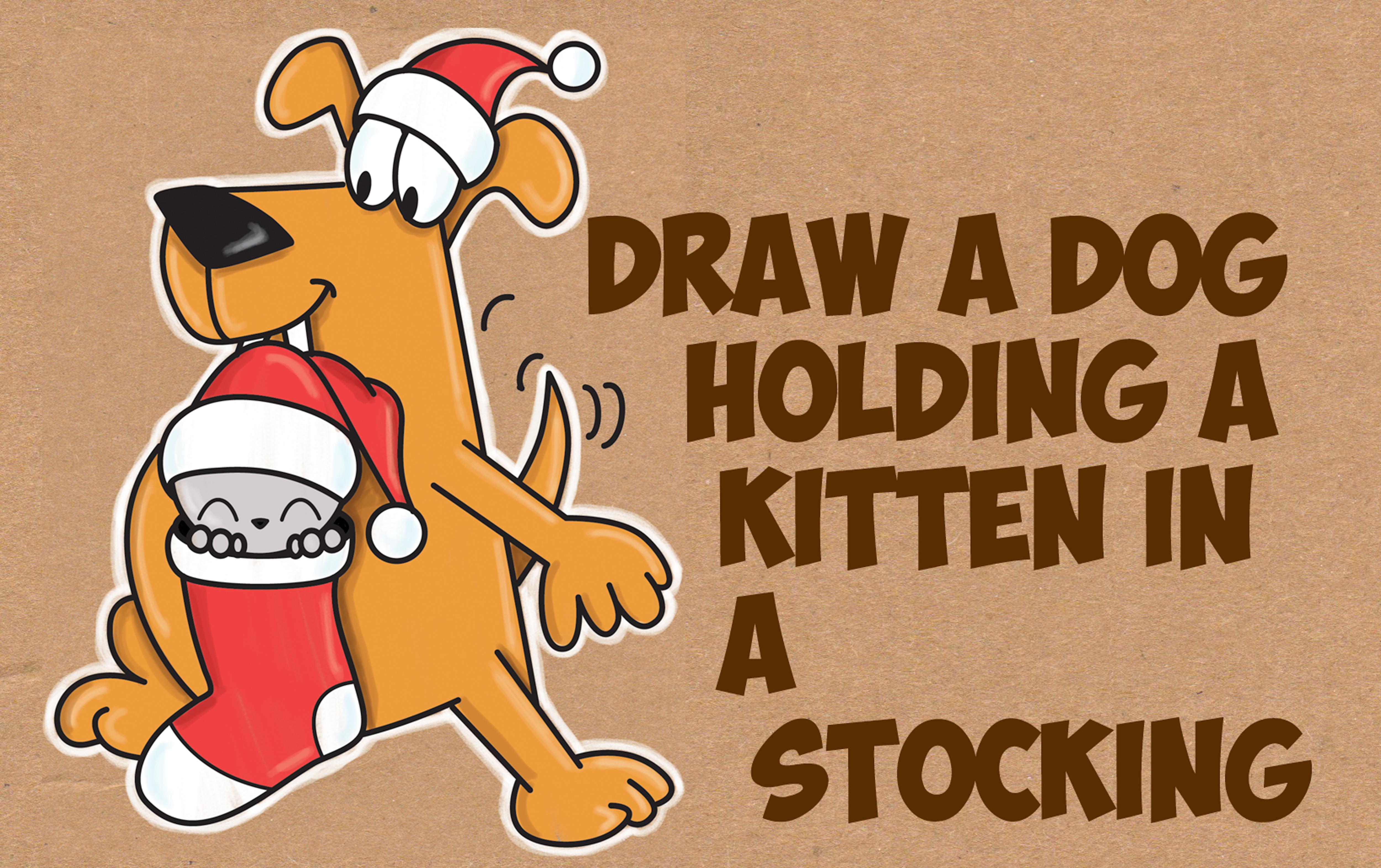 Drawn santa kitten Easy Kawaii Cartoon Draw Step