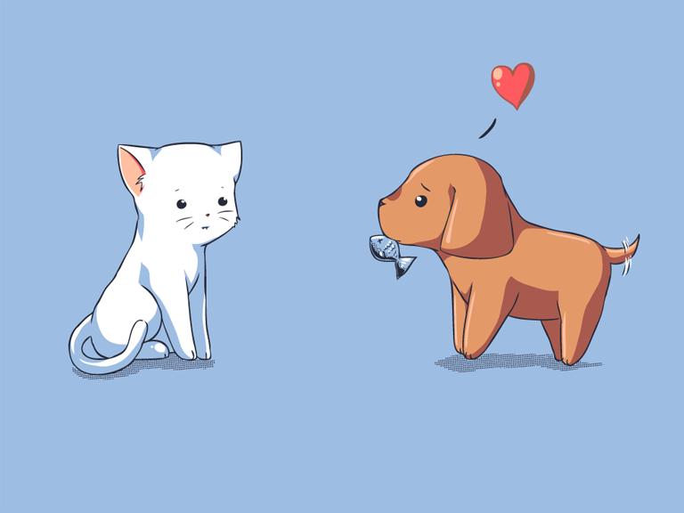 Drawn puppy kitten Optimistic  Shirt Courtship Woot