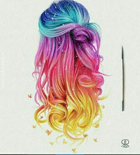 Drawn braid hair colour Drawing on Rainbow … Rainbow
