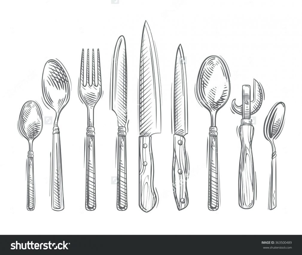 Drawn knife Of Object Spoon Tools Hand