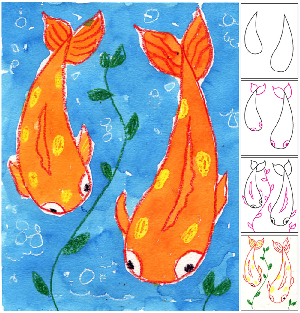 Drawn gold fish kid For Koi Painting Fish Projects