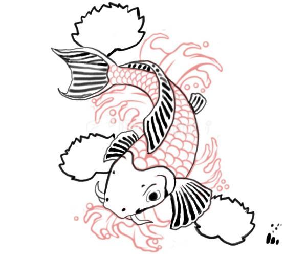 Drawn koi carp #6