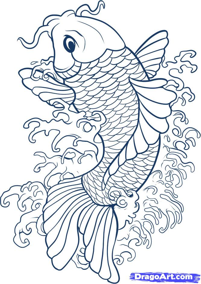 Drawn koi carp #7