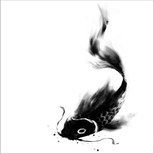 Drawn panda one color Koi and fish drawing ink