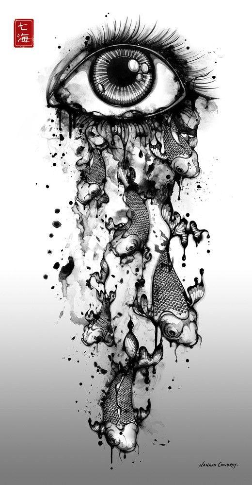 Drawn tears black and white Of Nanami beautiful Pinterest 136