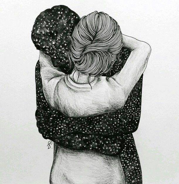 Drawn photos couple Drawings hug Couple on Pinterest