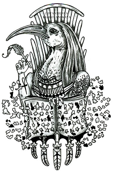 Drawn korn black and white Korn Thoth (in  and