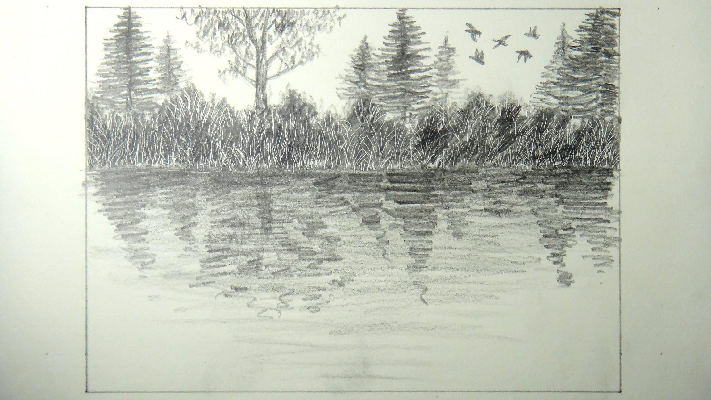 Drawn river lake A lake Scratch How draw