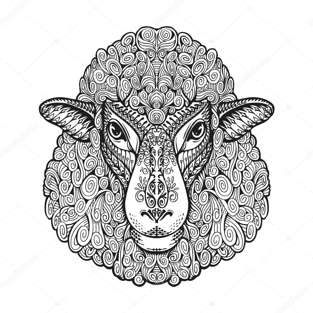 Drawn sheep face Hand  illustration drawn Ethnic