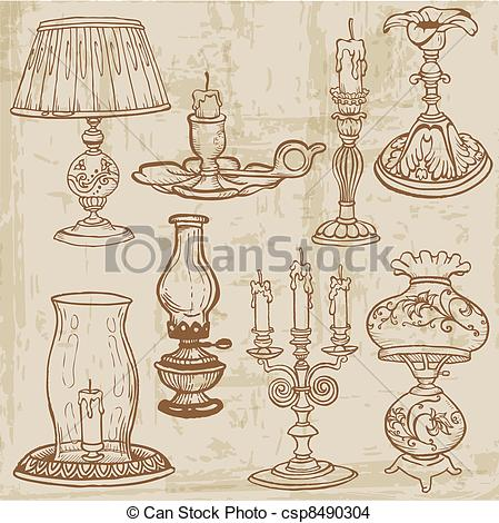 Drawn lamps Lamps Set of EPS Candles