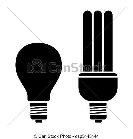 Drawn lamp cfl bulb CFL Vector Lamp illustration
