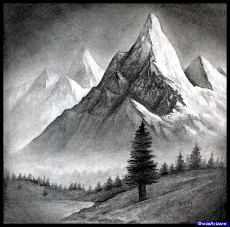 Drawn landscape Best Mountains Landscape Realistic Realistic