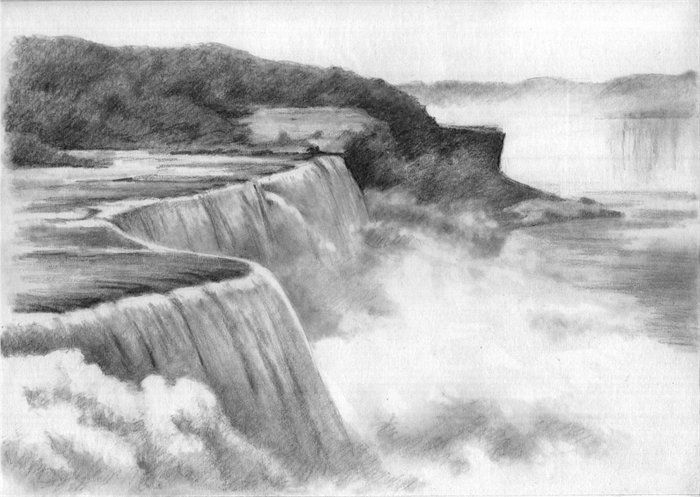 Drawn landscape Blackandwhite tags drawings pencil on