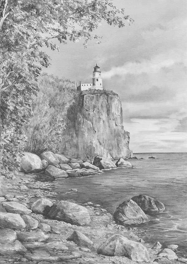 Drawn landscape Rocks lighthouse art Pencil on
