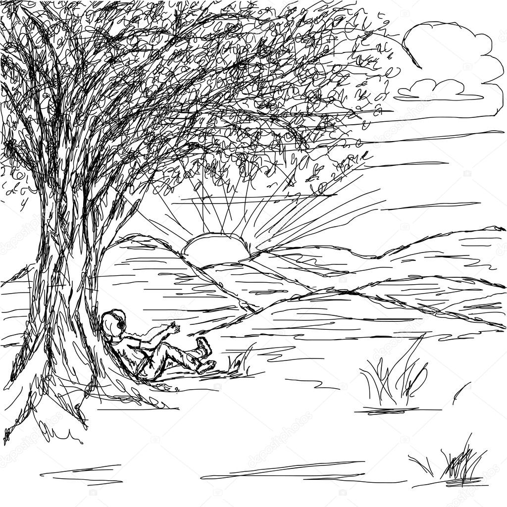 Drawn landscape Landscape drawn Stock Stock Hand