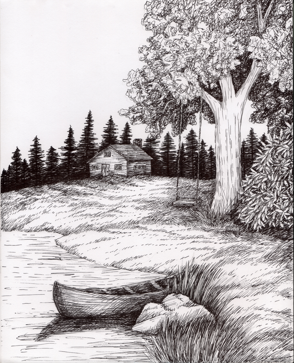 Drawn scenic black pen And and  Ink landscape