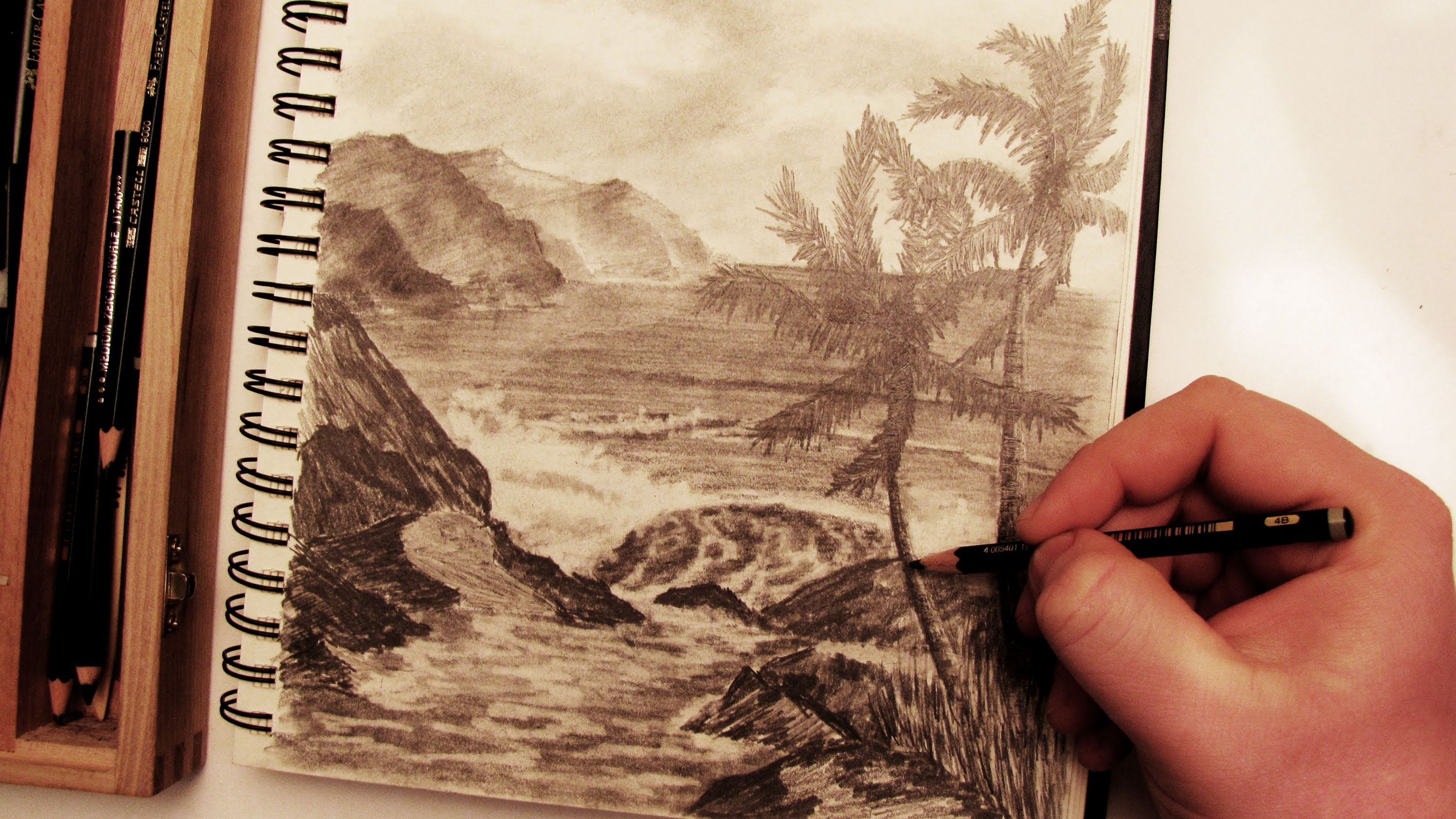 Drawn scenic drawing Palm Realistic  Pencil to