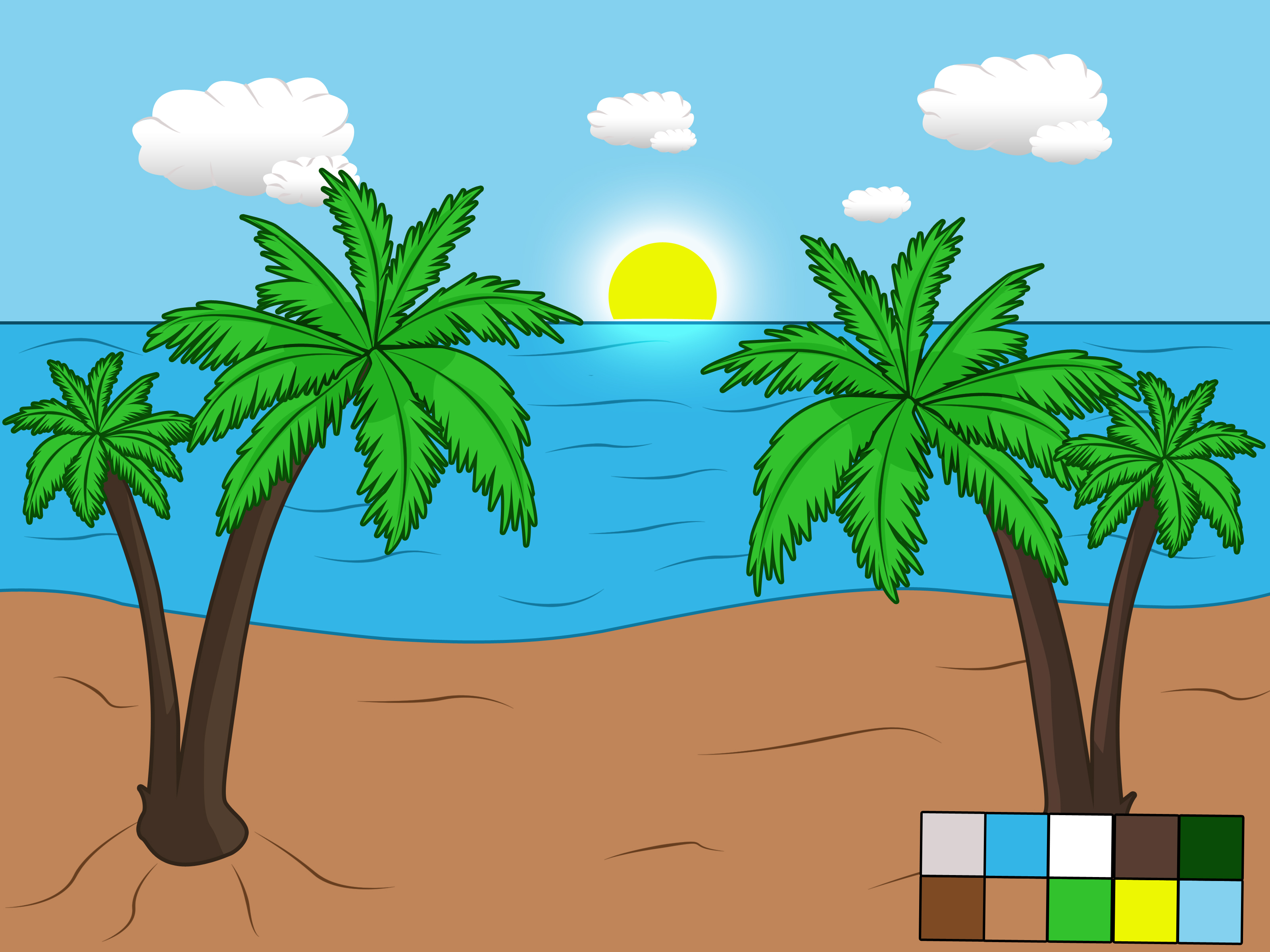 Drawn scenery morning Beach Draw Scene: Pictures)