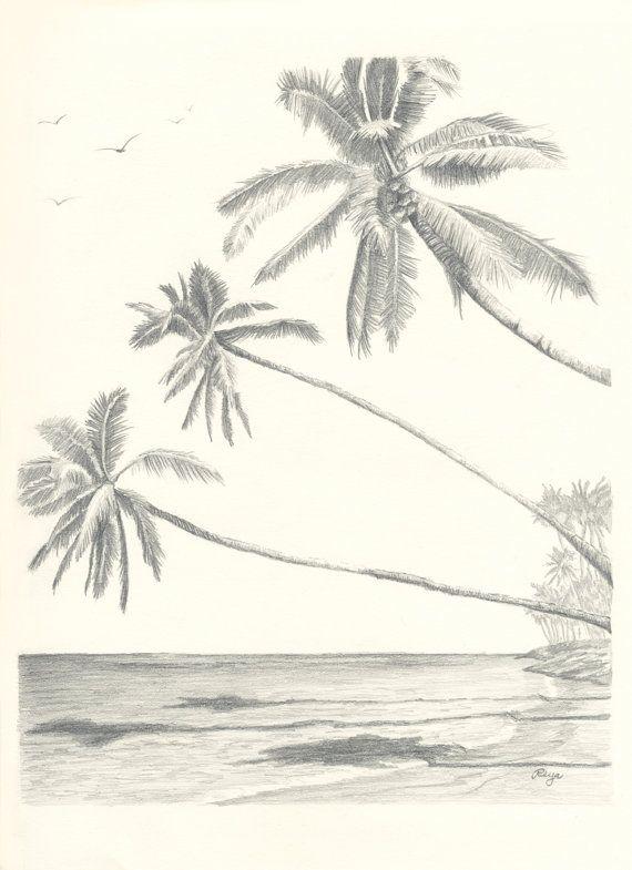 Drawn palm tree retro #2