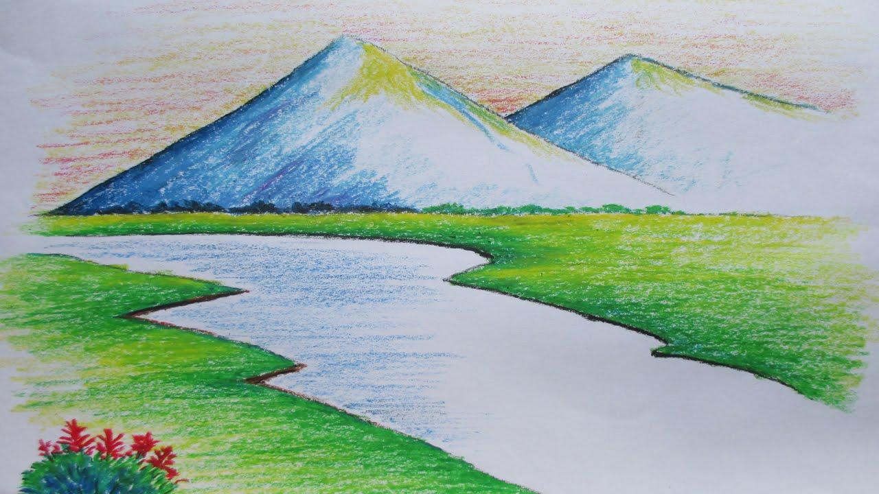 Drawn scenery beginner Oil Landscape Beginners Mountain