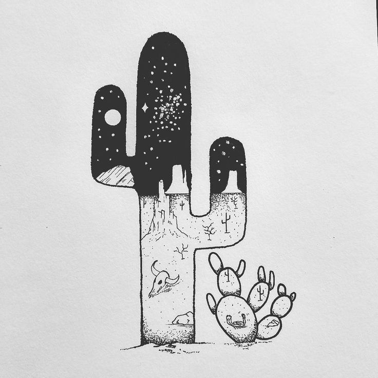 Drawn cactus desert landscape In on art ideas 25+