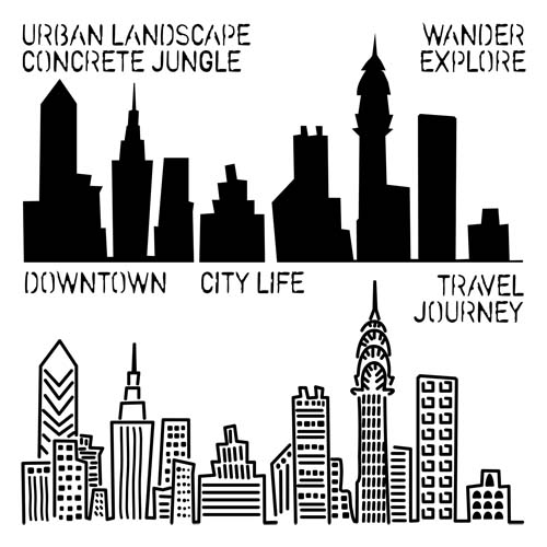 Drawn skyline city landscape Landscape [ME] Stencils Urban