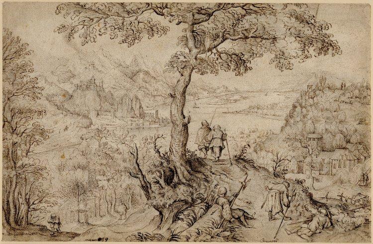 Drawn cilff landscape Foreground Elder monastery and barges