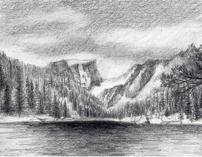 Drawn snow graphite Step Craftsy in Draw mountains