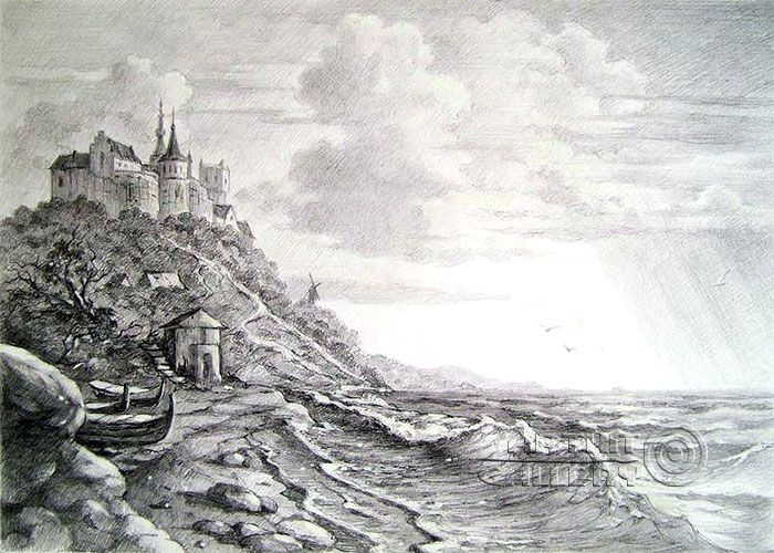 Drawn cilff landscape Kulagin about at Drawing best