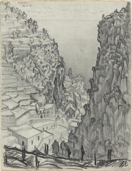 Drawn cilff landscape Ravello Escher coast mountains and