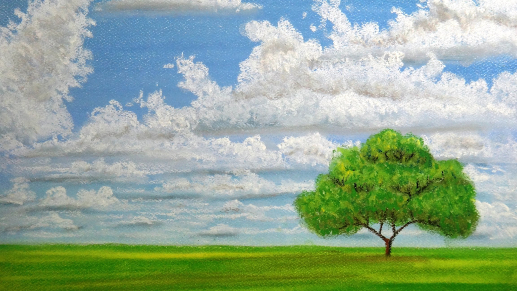 Drawn landscape cloudy sky - Pencil and in color drawn ...
