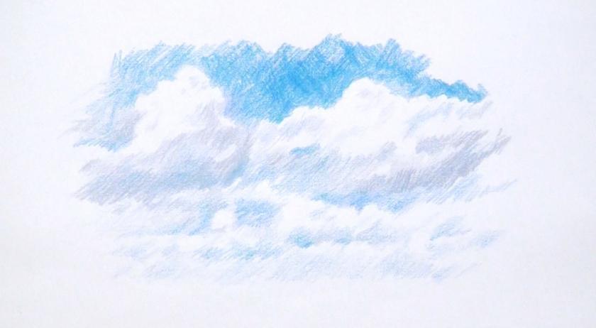 Drawn clouds color pencil ArtTutor Colour final country lane