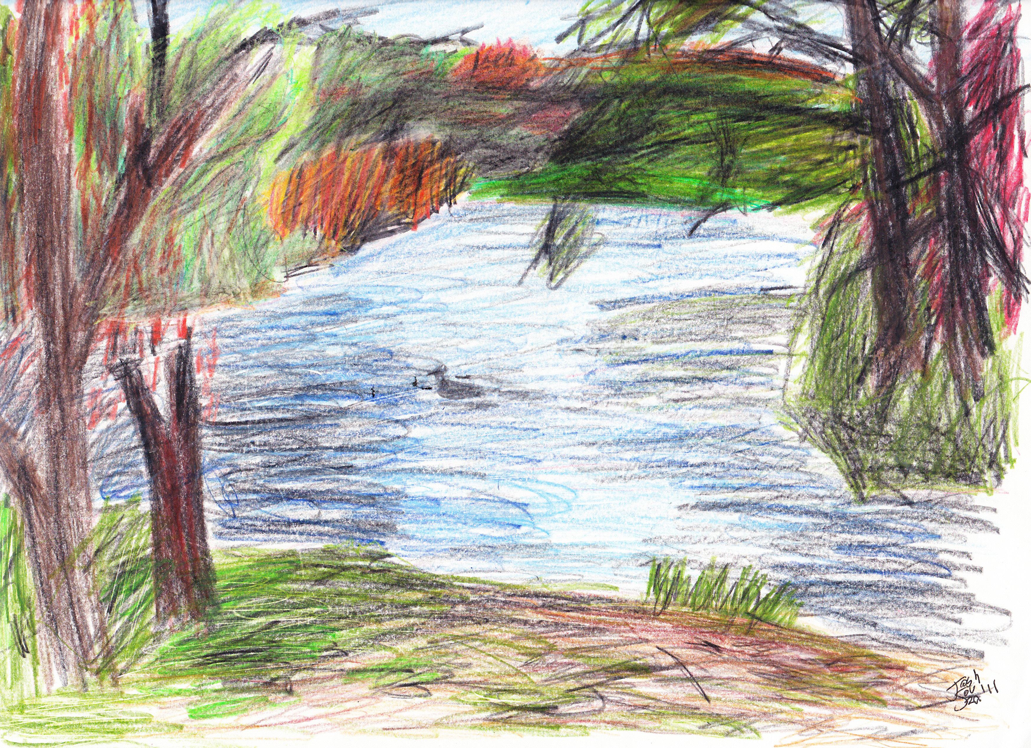 Drawn scenery colored pencil Landscape Pics Pencil Drawings: Landscapes