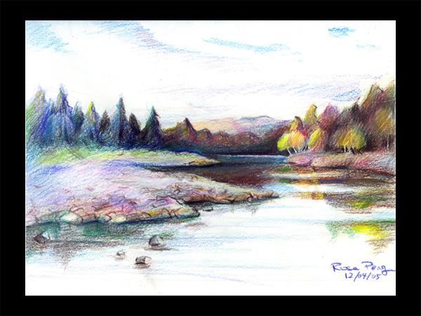 Drawn scenic colored pencil Pencil Landscape Color Sketches