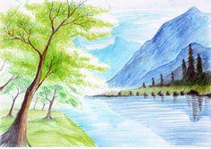 Drawn scenery poster colour  river Google Search Landscape