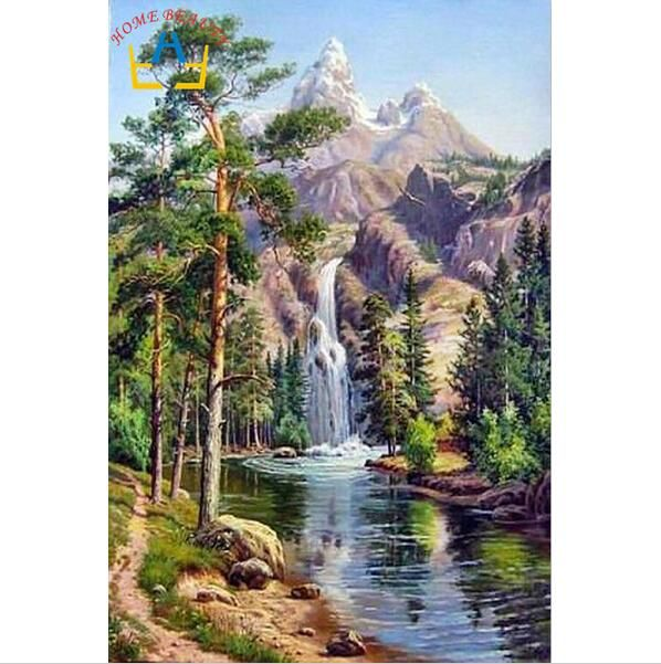 Drawn scenic poster colour Painting oil on drawing BEAUTY