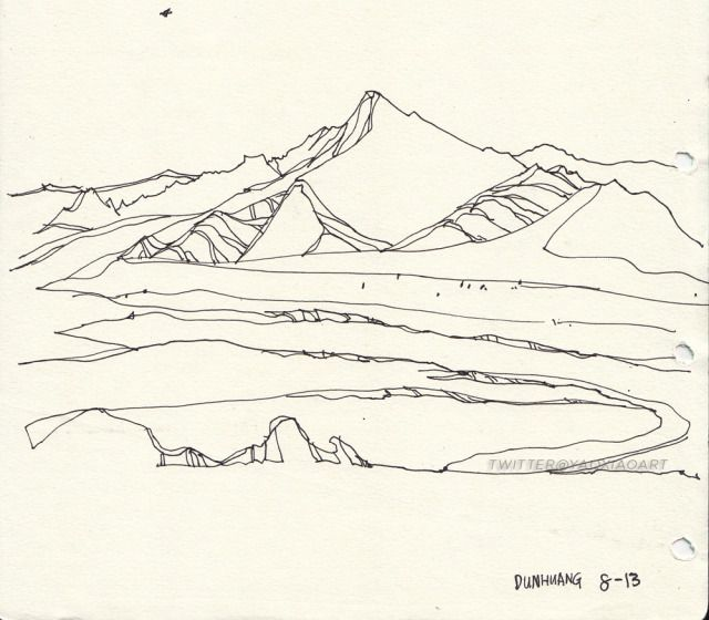 Drawn river river line Mountain bare mountains of drawing