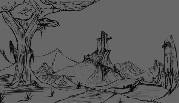 Drawn landscape easy Techniques 1 a Step Digital