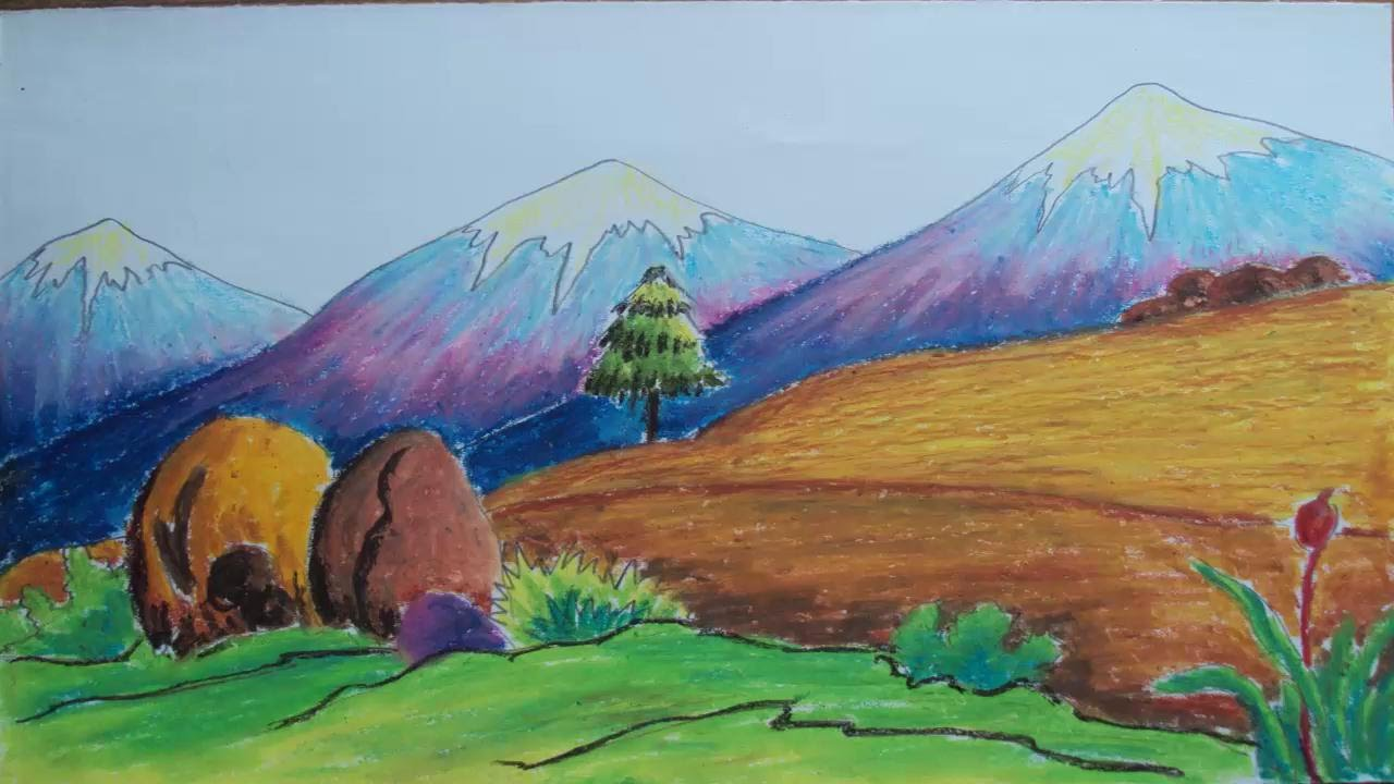 Drawn scenery mountain How Colors Pastel  Mountain