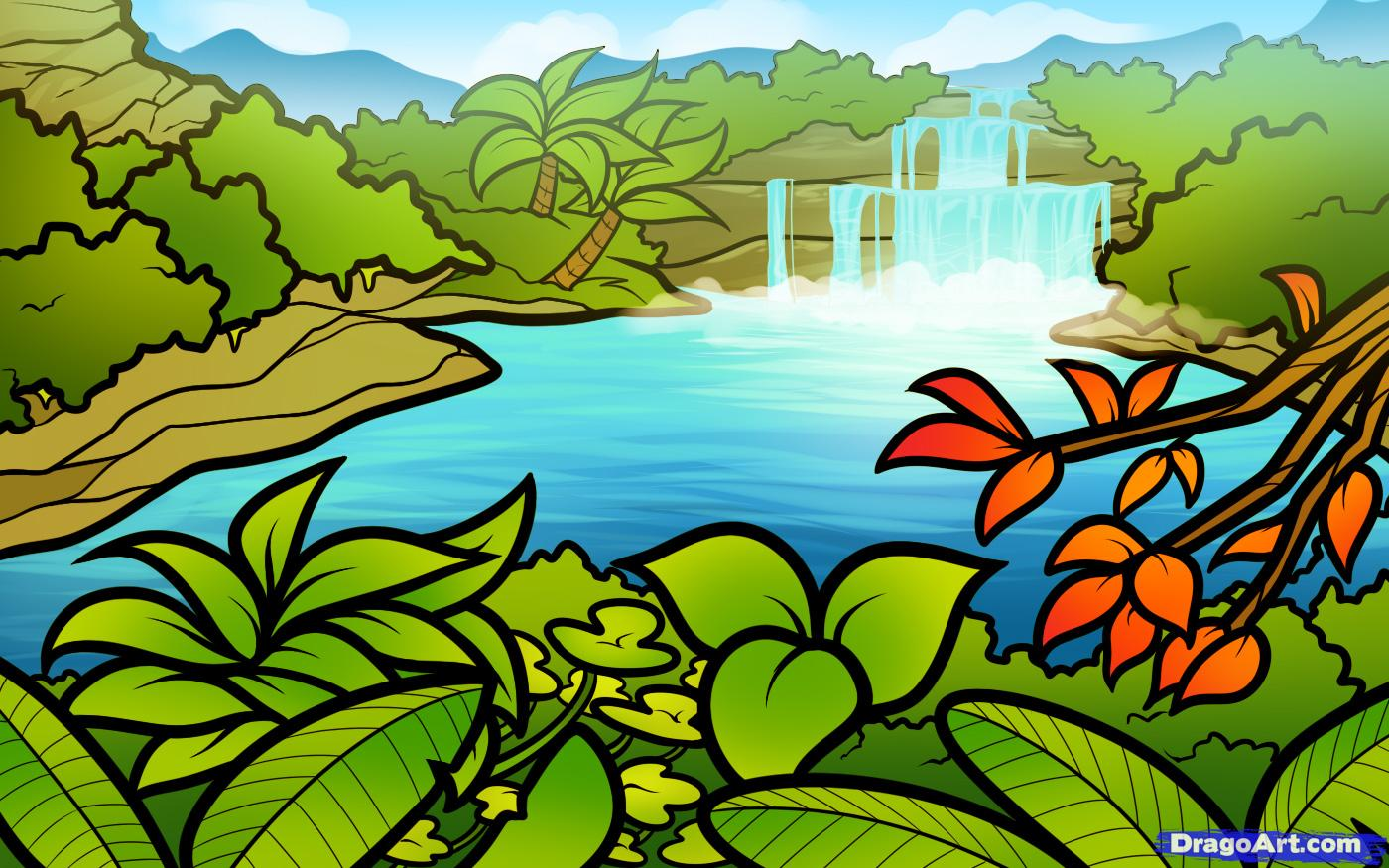 Drawn rainforest cartoon To draw Lagoon Step