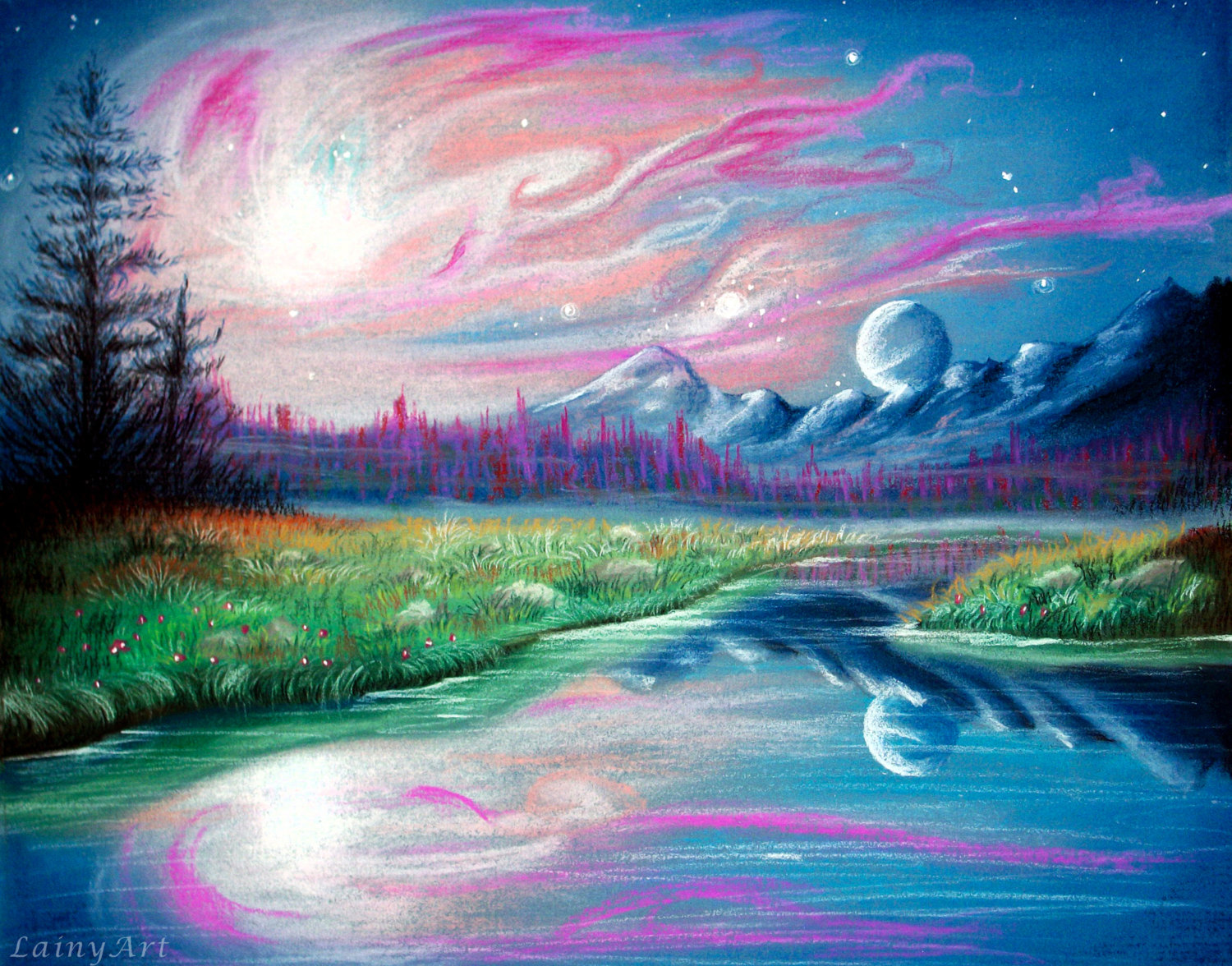 Drawn space art space Pastels landscape Space CUSTOM 8x10