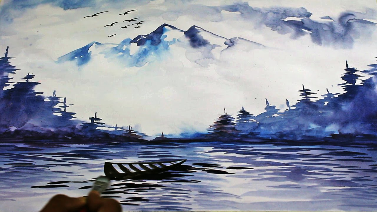Drawn scenery water colour Unsubscribe YouTube Painting Time Drawing